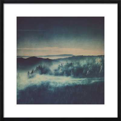 """misty morning blues - 24 x 24 - Contemporary - Black Wood, frame width 0.75"""", depth 1.25"""" - With Matte - Artfully Walls"""