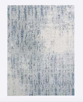 Distressed Foliage Rug, Moonstone, 9'x12' - West Elm