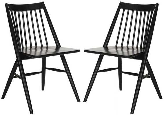 Massey Solid Wood Dining Chair (Set of 2) - Black - Wayfair