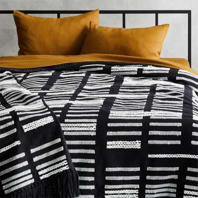 Hydrus Full/Queen Black and White Blanket - CB2