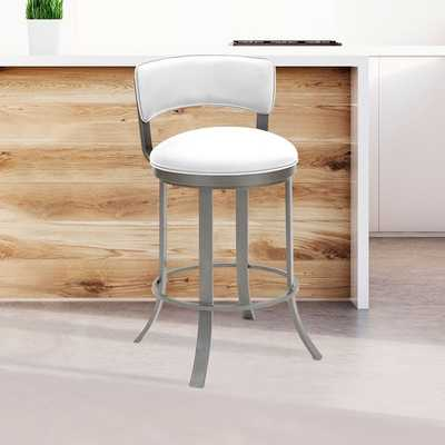 Taylor Gray Home Camilla Metal Swivel Barstool in Aspen Pure White Faux Leather and Silver Palladium Finish - Overstock