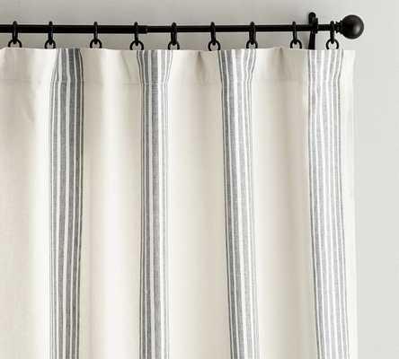 "Riviera Striped Linen/Cotton Rod Pocket Curtain, 50 X 108"", Charcoal - Pottery Barn"