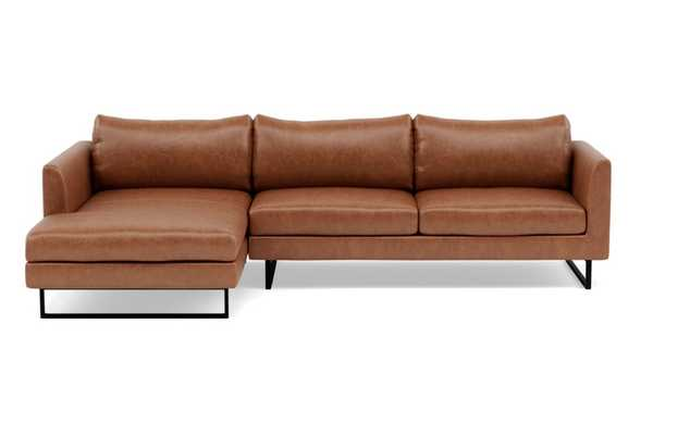 OWENS LEATHER Leather Sectional Sofa with Left Chaise / Pecan Pigment-Dyed Leather +  Matte Black Square Outline - Interior Define