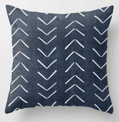 "Mud Cloth Big Arrows in Navy Throw Pillow - Indoor Cover (24"" x 24"") with pillow insert by Beckybailey1 - Society6"