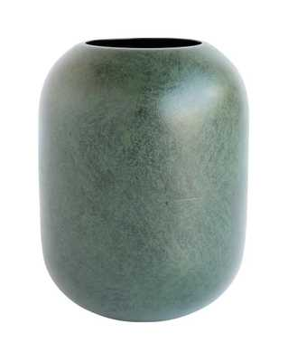 MARBLED GREEN METAL VASE - McGee & Co.