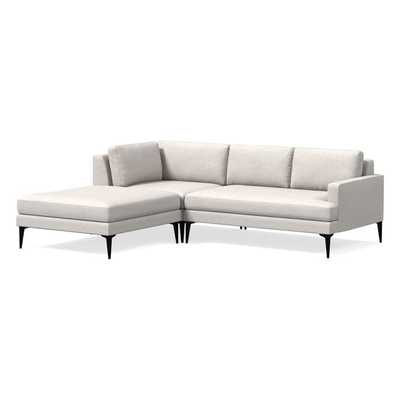 "Andes 3-Piece Chaise Sectional, 97"", Performance Coastal Linen, Stone White, Dark Pewter Leg - West Elm"