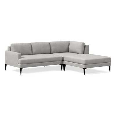 Andes 3-Piece Chaise Sectional - Performance coastal linen platinum - West Elm