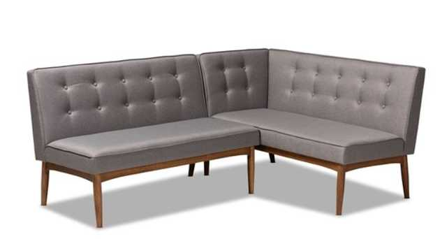 BAXTON STUDIO ARVID MID-CENTURY MODERN GRAY FABRIC UPHOLSTERED 2-PIECE WOOD DINING CORNER SOFA BENCH - Lark Interiors