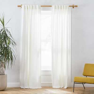 """Linen Cotton Pole Pocket Curtain + Blackout Panel, White, 48""""x96"""" - West Elm"""