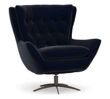 Wells Upholstered Swivel Armchair with Bronze Base, Polyester Wrapped Cushions, Performance Plush Velvet Navy - Pottery Barn
