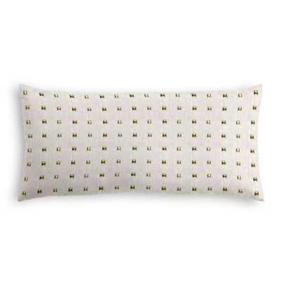 "Light Taupe Gold Studded Lumbar Pillow - Stud Muffin - Oatmeal - 12"" x 24"" - Loom Decor"