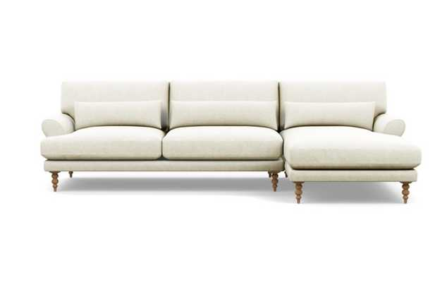 MAXWELL Sectional Sofa with Right Chaise in Vanilla Static Weave, Natural Oak Tapered Turned Leg - Interior Define