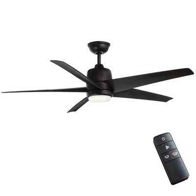 Mara 54 in. White Color Changing Integrated LED Indoor/Outdoor Matte Black Ceiling Fan with Light and Remote Control - Home Depot
