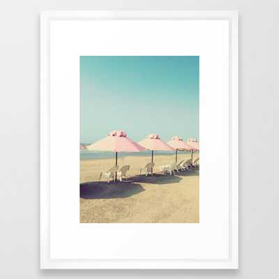 Pale Pink Beach Umbrellas Framed Art Print - Society6