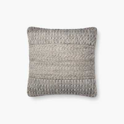 "Loloi PILLOWS P0697 Grey 18"" x 18"" Cover w/Poly - Loma Threads"