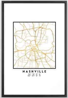 NASHVILLE TENNESSEE CITY STREET MAP ART Framed Art Print - Society6