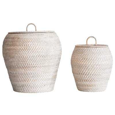 2 Piece Rattan Basket Set - Wayfair