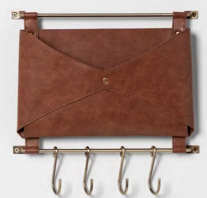 Entryway Metal Hook Rail With Leather Folio Brow - Target
