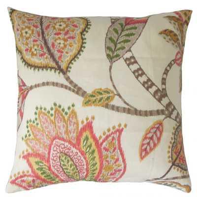 """Mazatl Floral Pillow Blush-18"""" x 18"""" - Poly Insert - Linen & Seam"""
