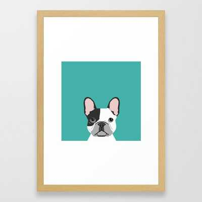 French Bulldog black and white peeking dog head funny dog gifts frenchies must haves Framed Art Print - Society6