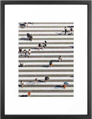 """Rain Crossing Framed Art Print, 20"""" x 26"""", Vector Black - Society6"""