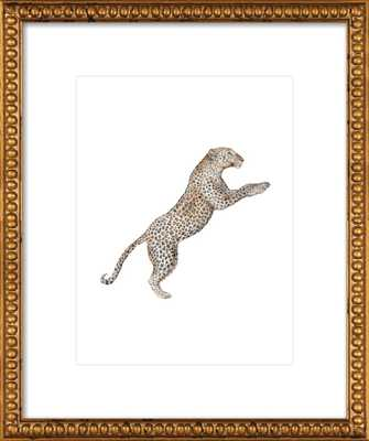 "Leaping Leopard Watercolor - 16"" x 20"" print - Ornate Gold Crackle Bead Wood Frame - With Matte - Artfully Walls"