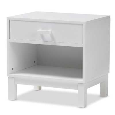 BAXTON STUDIO DEIRDRE MODERN AND CONTEMPORARY WHITE WOOD 1-DRAWER NIGHTSTAND - Lark Interiors
