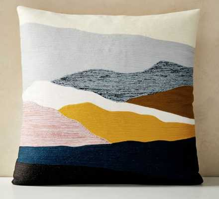 "Crewel Landscape Pillow Cover, 20""x20"", Desert Sunset - West Elm"