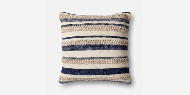 P1022 MH Navy / IVORY Pillow - With Down Insert - Loma Threads