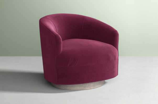 Amoret Swivel Chair - Velvet Sangria - Anthropologie