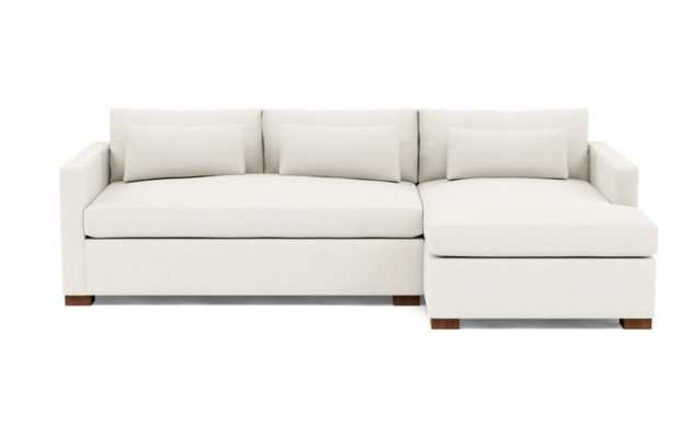 Charly Right Sectional with White Cirrus Fabric and Oiled Walnut legs - Interior Define