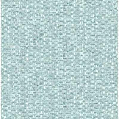 NuWallpaper 30.75 sq. ft. Aqua Poplin Texture Peel and Stick Wallpaper, Blue - Home Depot