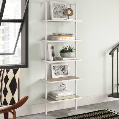 Christen Ladder Bookcase - Gray Oak Wood/White Metal Frame - AllModern