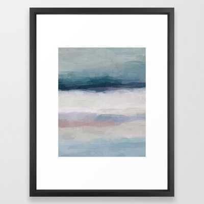 "Dark Teal Blue, White, Pink, Light Blue Modern Wall Art, Ocean Waves Diptych Nursery Beach Decor Art Framed Art Print, 20""x26"", Vector Black Frame - Society6"