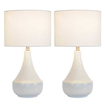 "Flynn Textural Ceramic 22"" Table Lamp Set (Set of 2) - Wayfair"