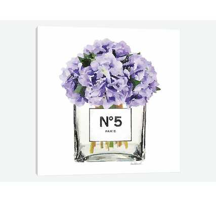 'No. 5 Vase with Purple Hydrangeas' Print on Canvas - Wayfair