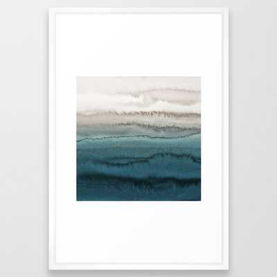 WITHIN THE TIDES - CRASHING WAVES TEAL Framed Art Print - Society6