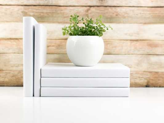 Set of 3 Decorative Books- Solid White - Havenly Essentials