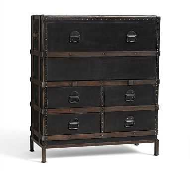 Ludlow Trunk with Stand Secretary Desk, Black - Pottery Barn