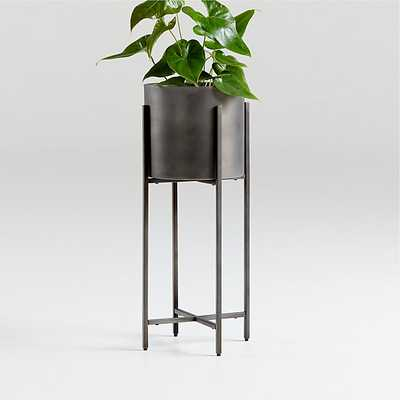 Dundee Bronze Floor Planter with Short Stand - Crate and Barrel