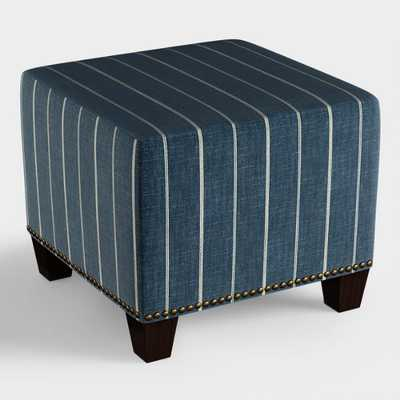 Indigo Blue Stripe McKenzie Upholstered Ottoman - Fabric by World Market - World Market/Cost Plus