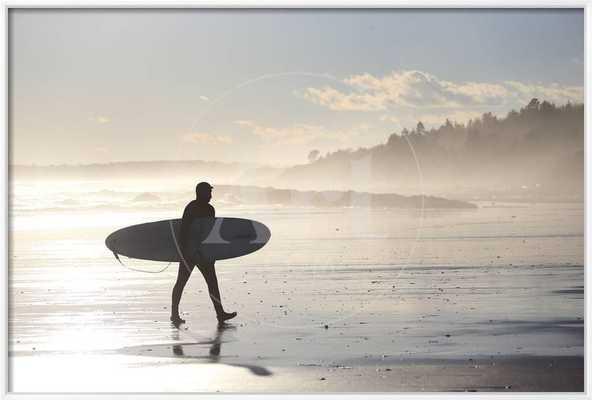 A Winter Surfer Walks Along Higgins Beach in Maine - art.com
