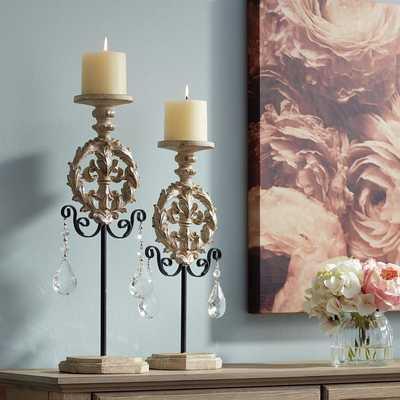 Piccoli White Wash Pillar Candle Holder Set of 2 - Lamps Plus