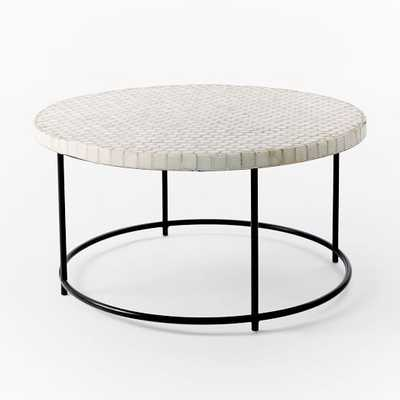 Mosaic Tiled Outdoor Coffee Table, White Penny/Antique Bronze - West Elm