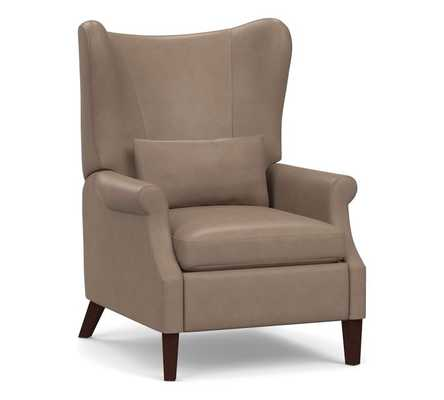 Champlain Square Arm Leather Wingback Recliner, Polyester Wrapped Cushions, Legacy Taupe - Pottery Barn