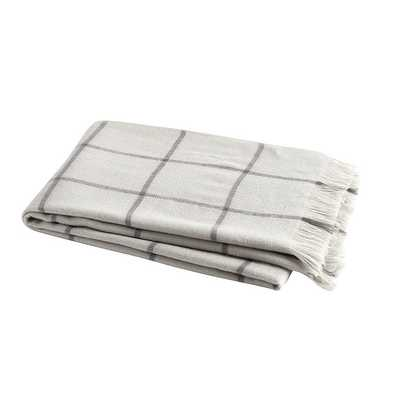 Windowpane Throw Blanket Gray - Ballard Designs