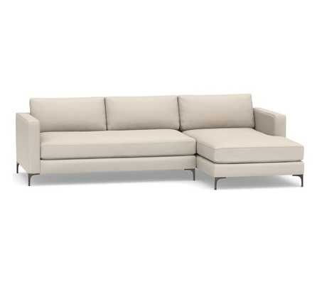 Jake Upholstered Left Arm Sofa with Chaise Sectional with Bronze Legs, Polyester Wrapped Cushions, Performance Brushed Basketweave, Oatmeal - Pottery Barn