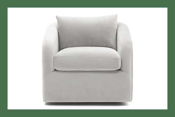 White Amelia Mid Century Modern Swivel Chair - Tussah Blizzard - Joybird