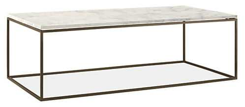Tyne Coffee Tables Marbled white quartz composite, mineral base - Room & Board