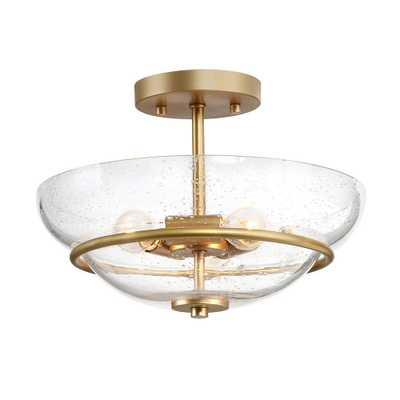 Muris 12 in. 3-Light Gold Semi-Flush Mount Modern Ceiling Light with Seeded Glass Shade - Home Depot